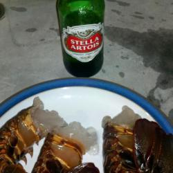 Lobster tails and beer ready for next step